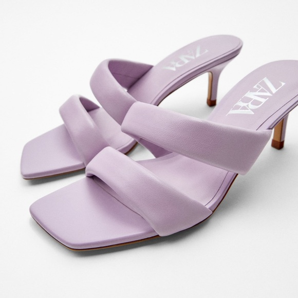 NWT ZARA Heeled Leather Sandal With Quilted Straps